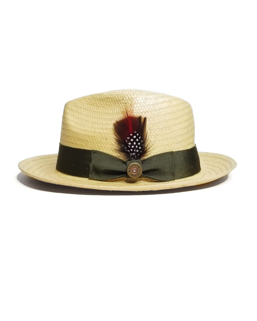 SG Straw Trilby Fedora Cream Tan