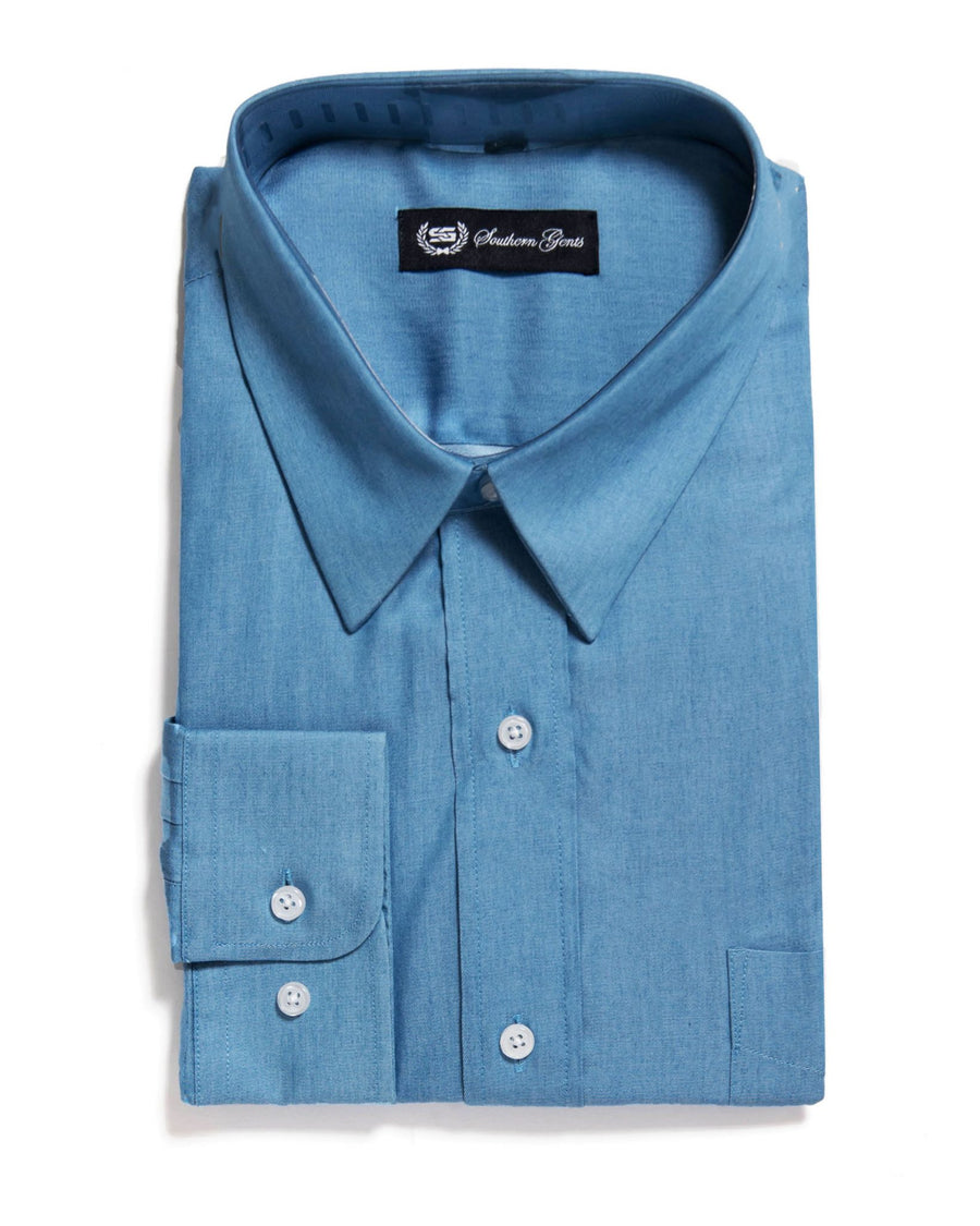 SG 'American Point Collar' Dress Shirt –  Denim