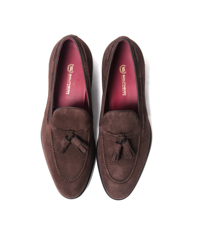 Southern Gents Newton Tassle Loafer Chocolate Dark Brown Suede