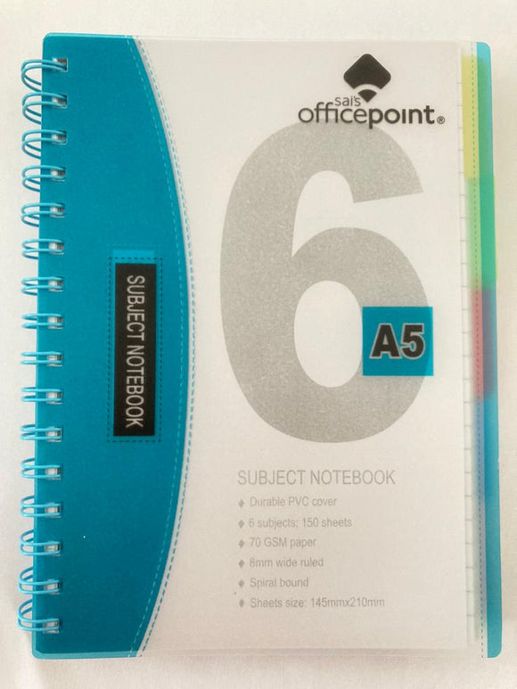 A5 PVC Spiral 6 Subject Notebook 150 Sheets Blue | School supplies