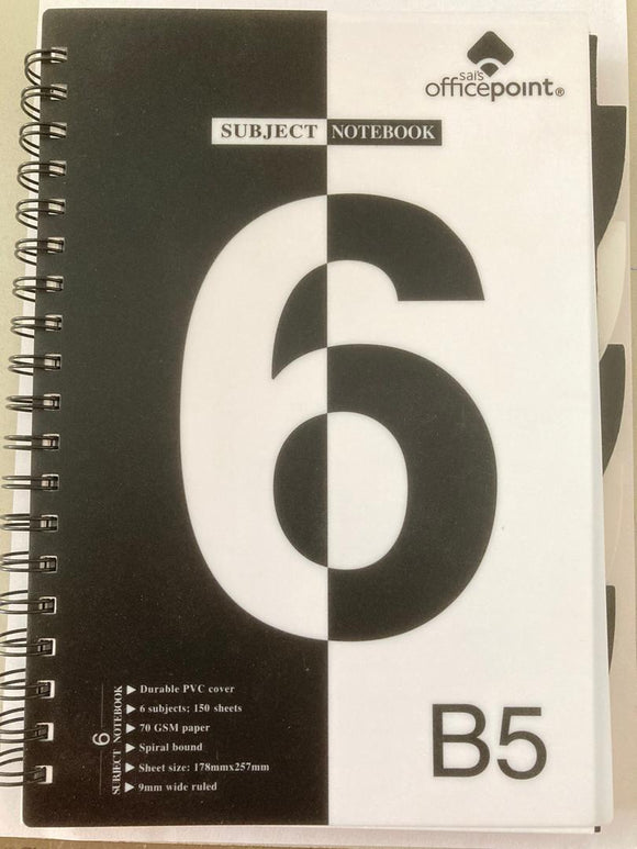 B5 PVC Spiral 6 Subject Notebook 150 Sheets | School supplies in Dar