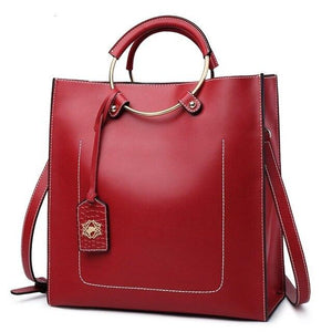 Ladies Smooth Leather Satchel Tote Shoulderbag