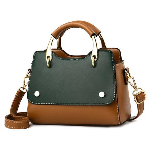 Ladies Two Tone Color PU Leather Tote Bag