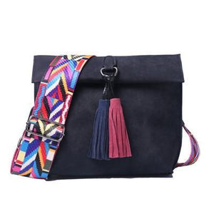 Suede Tassel Cross Body Bag With Funky Strap