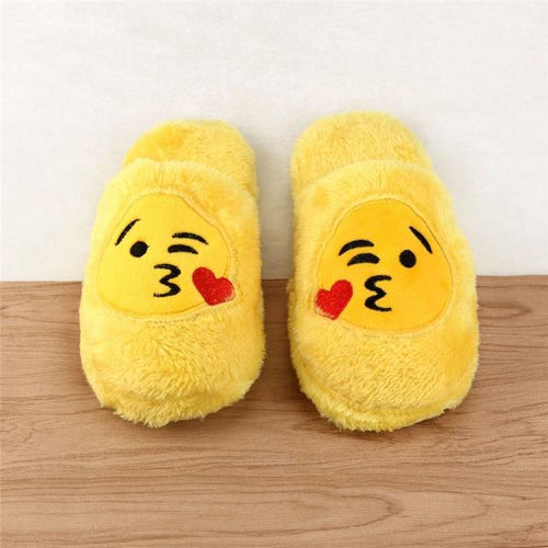 5 Fuzzy Emoji Slippers-Face Blowing Kiss
