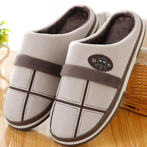Cozy-Gingham-Gender-Neutral-House-Slippers-Brown