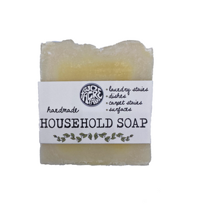 Two Acre Farm's household soap bar in minimal packaging