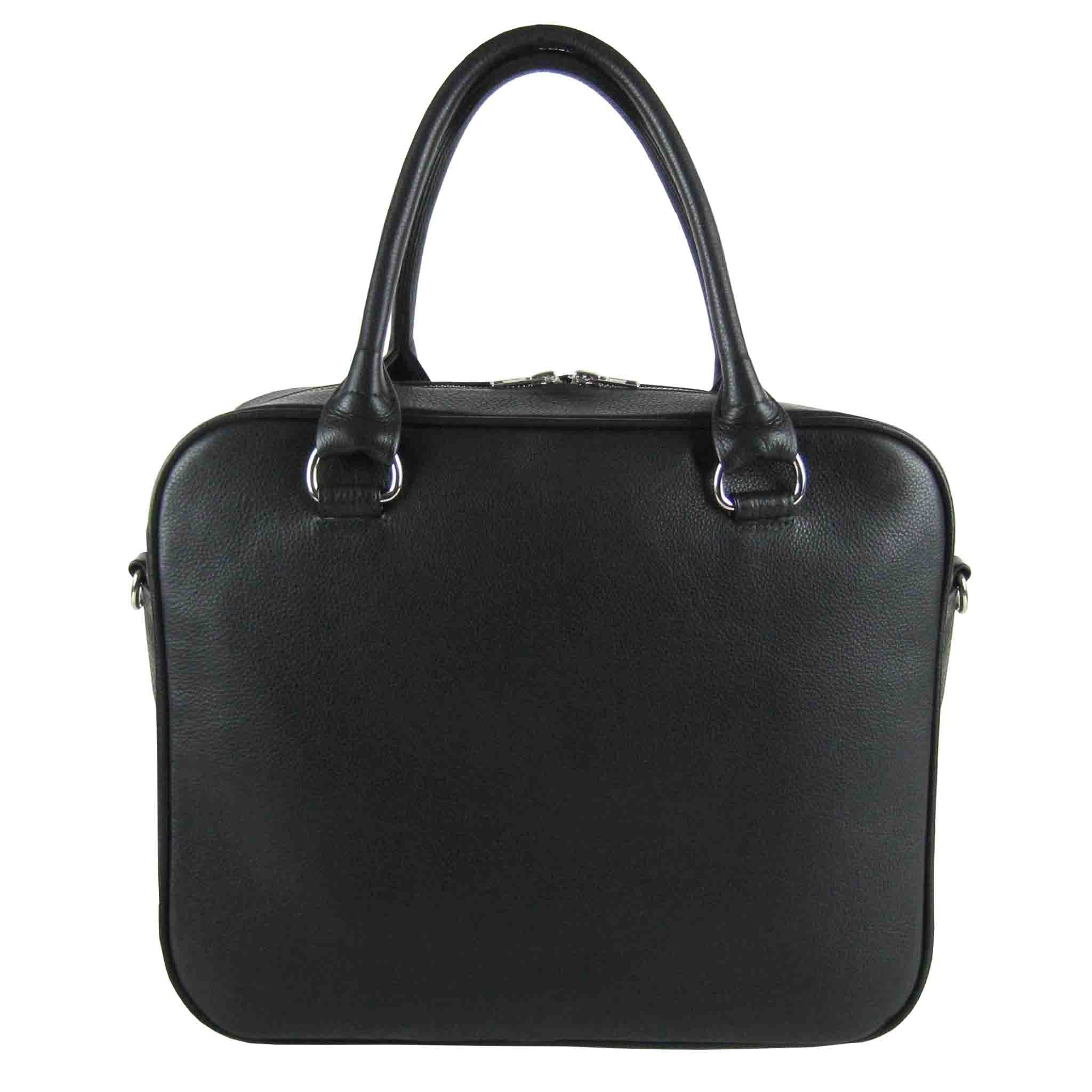 BLACK LEATHER MEN'S SHOULDER BAG AKTENTASCHE
