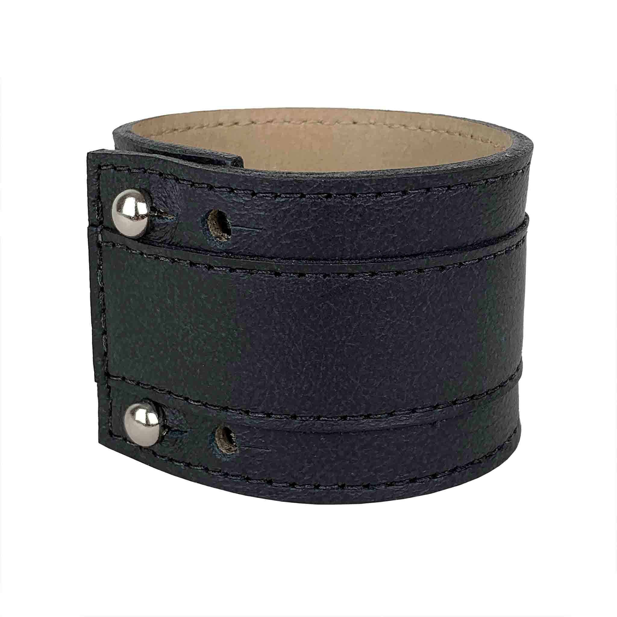 BLACK LEATHER CUFF MEN'S GROSCHEN