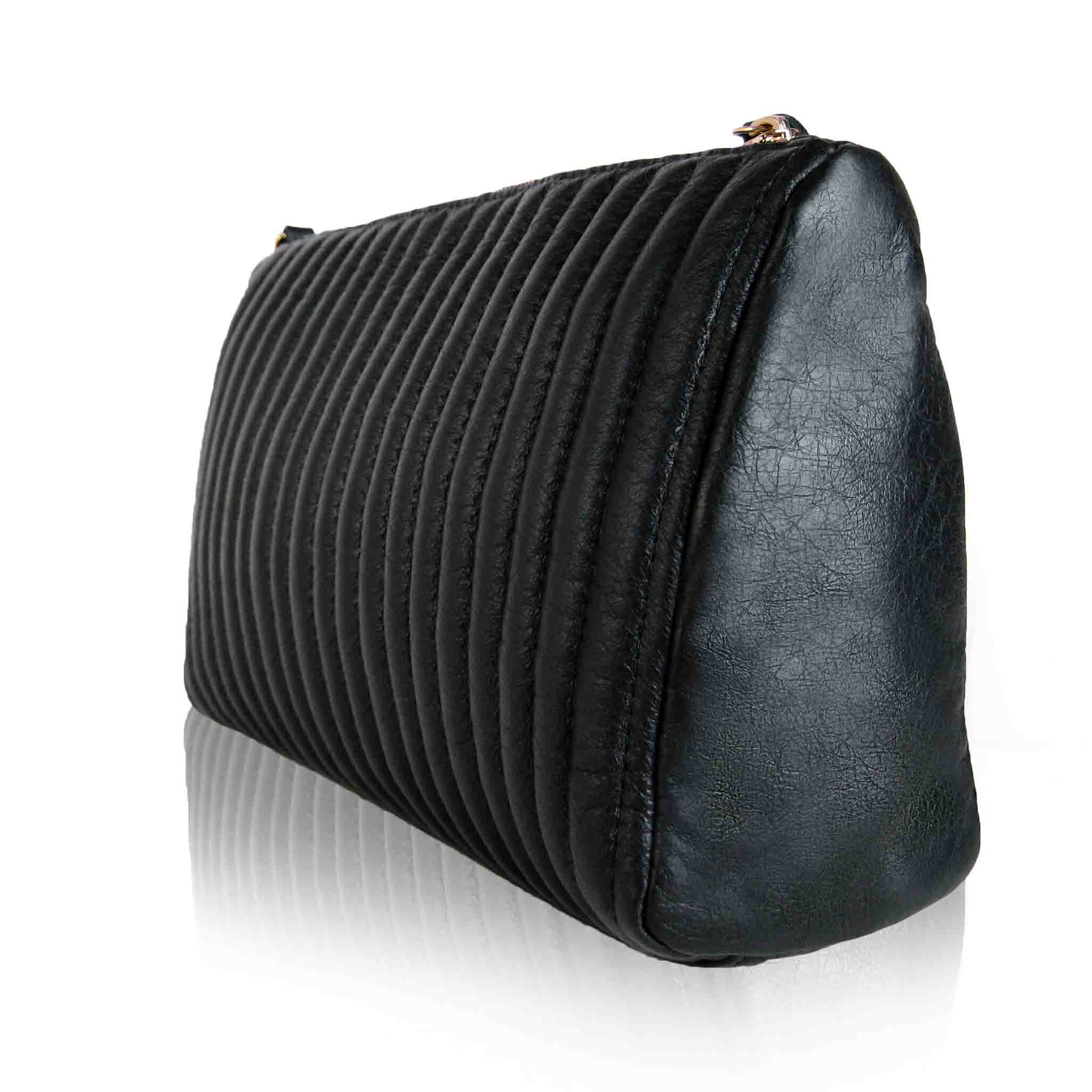 BLACK LEATHER SOFT CLUTCH WOMEN'S LEISTENA