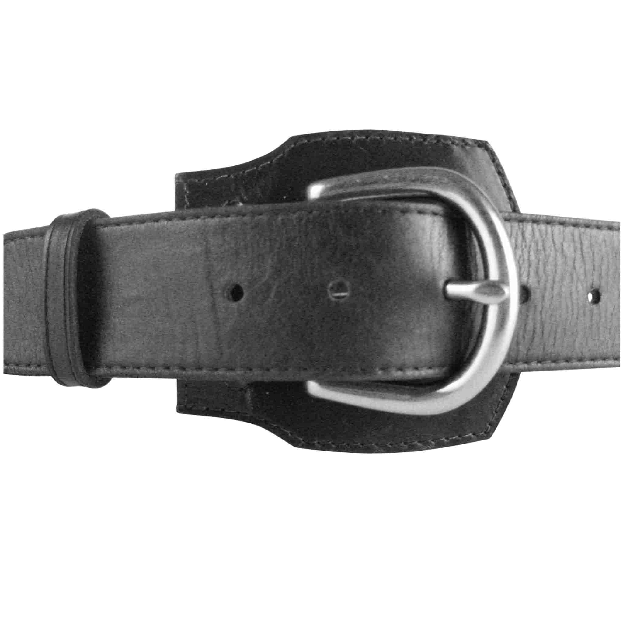 BLACK LEATHER BELT MEN'S RUCKEN
