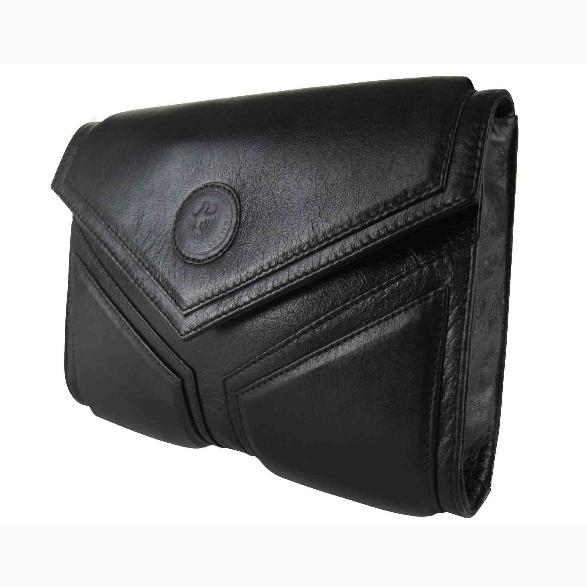 BLACK LEATHER CLUTCH WOMEN'S BAG DREIECK