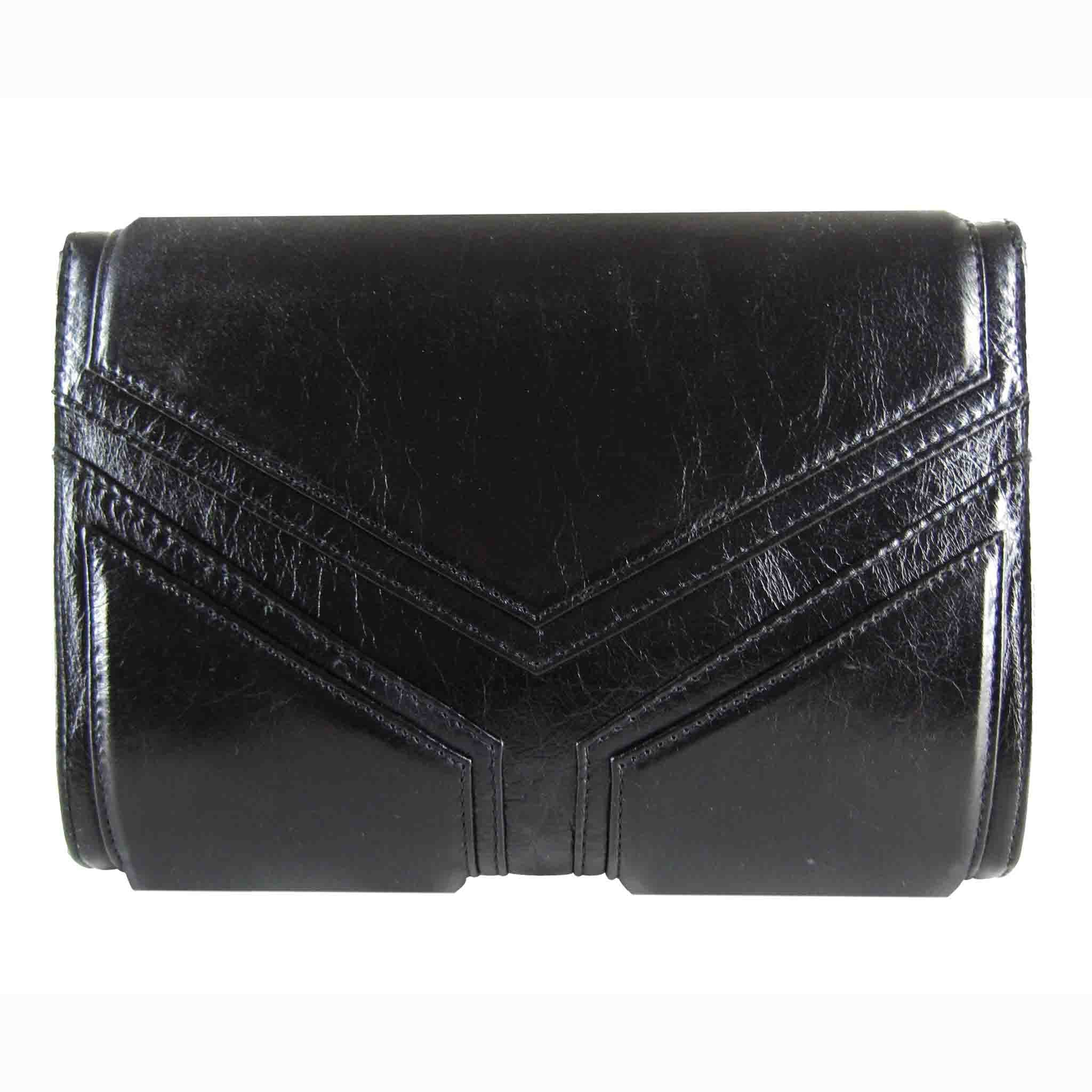 BLACK LEATHER WOMEN'S DREICK CLUTCH