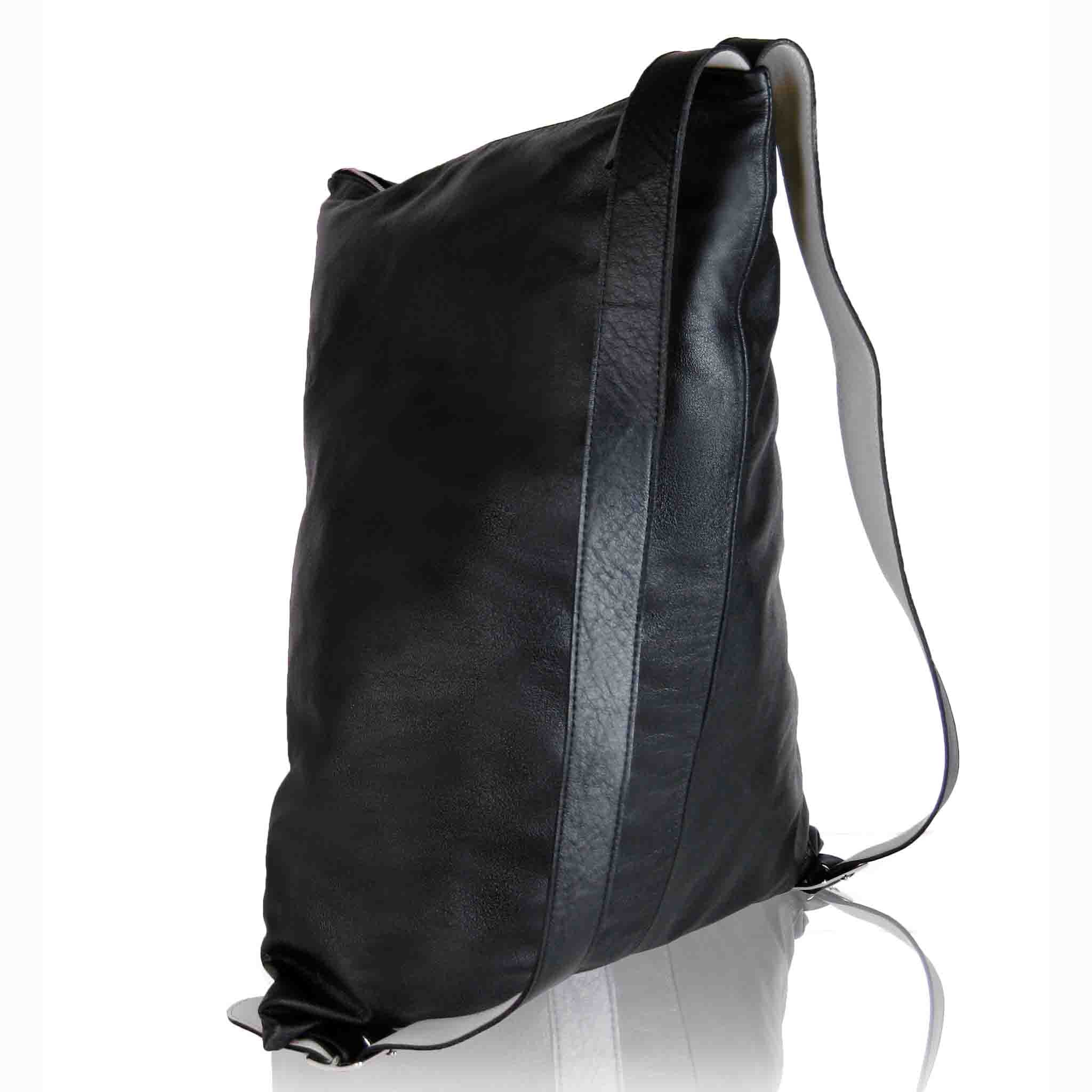 BLACK LEATHER SHOULDER MEN'S BACKPACK HAIA