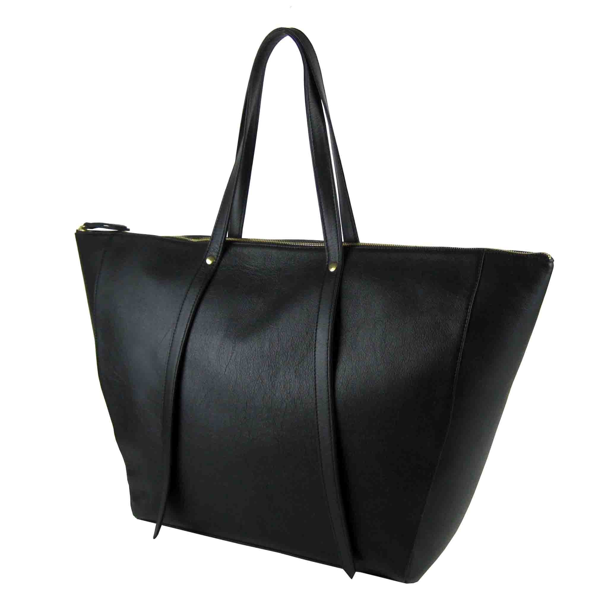 BLACK LEATHER TOTE WOMEN'S BAG KAUFER