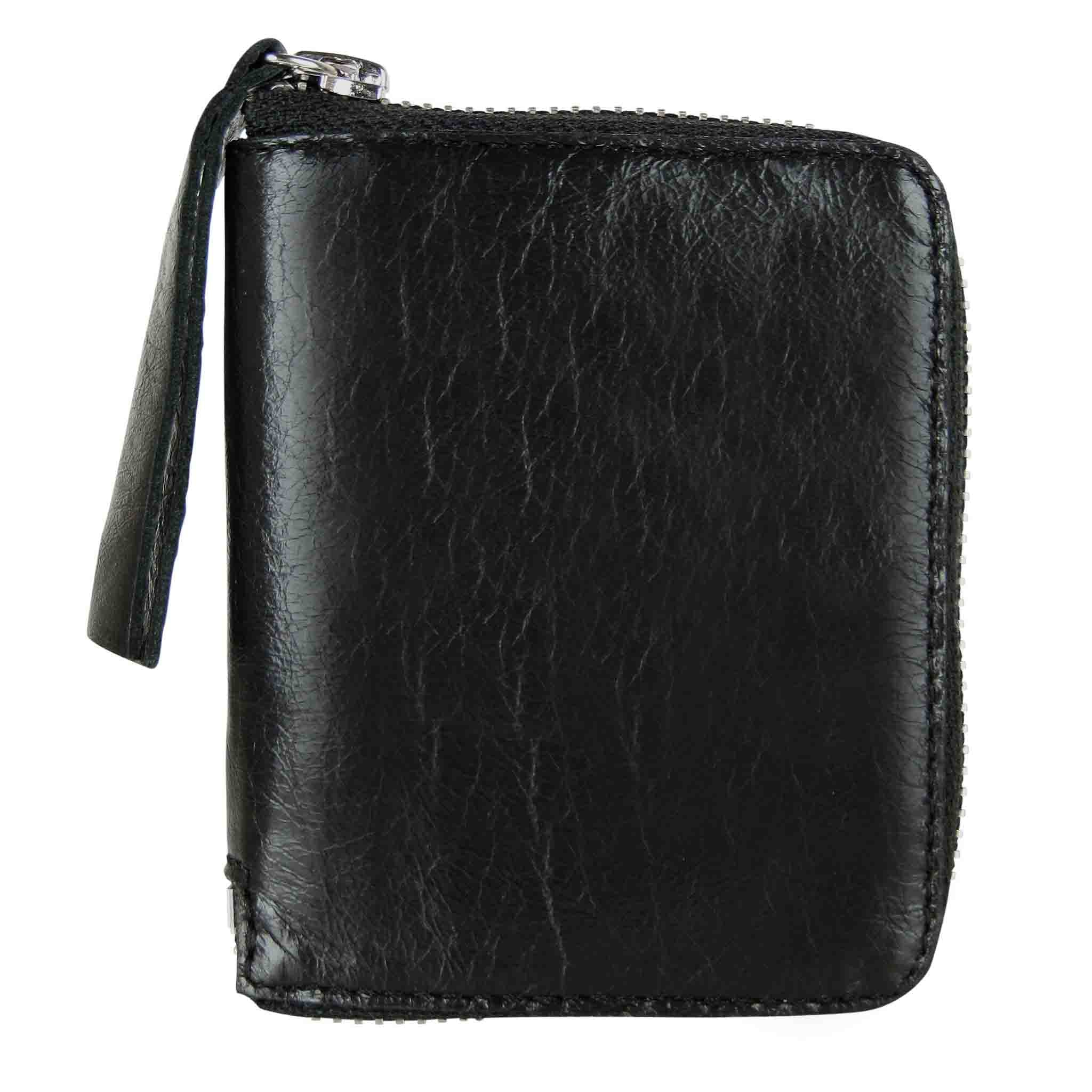 BLACK LEATHER WALLET MEN'S TASCHE