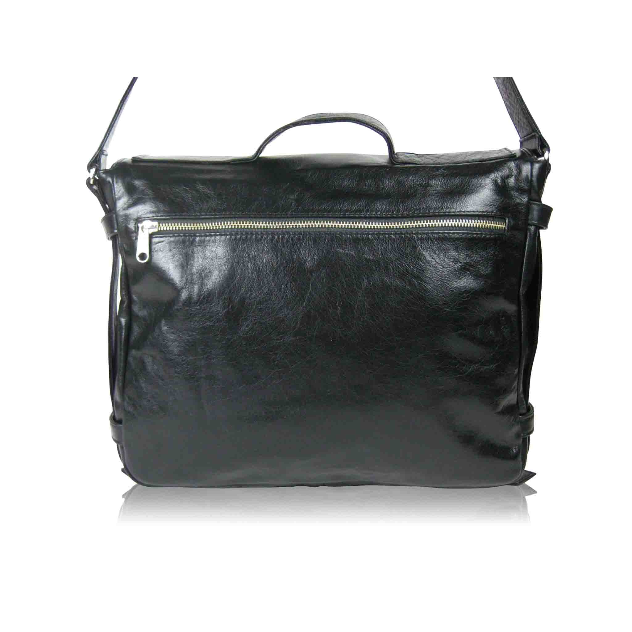 BLACK LEATHER SHOULDER BAG MEN'S ABBRECHEN  MESSENGER