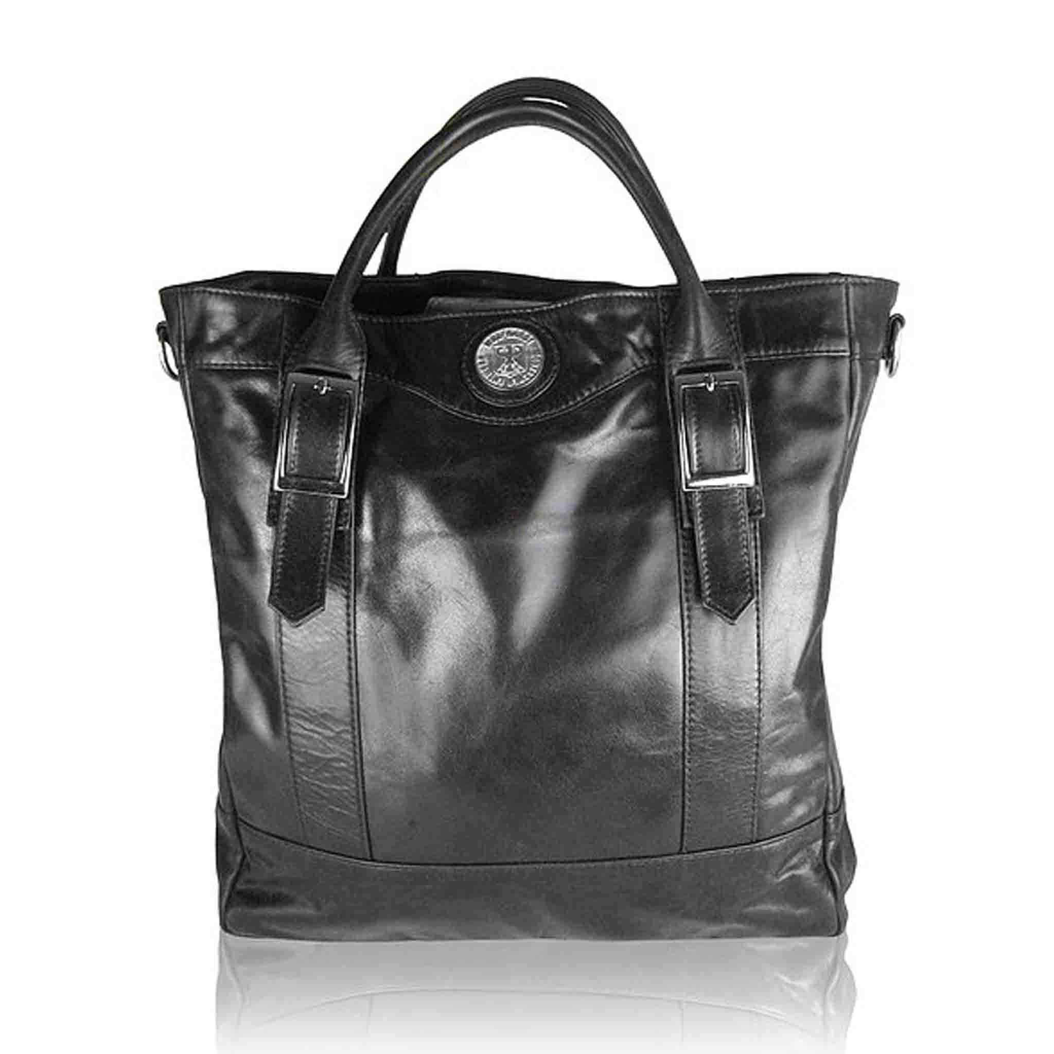 BLACK LEATHER MEN'S KUHN TOTE