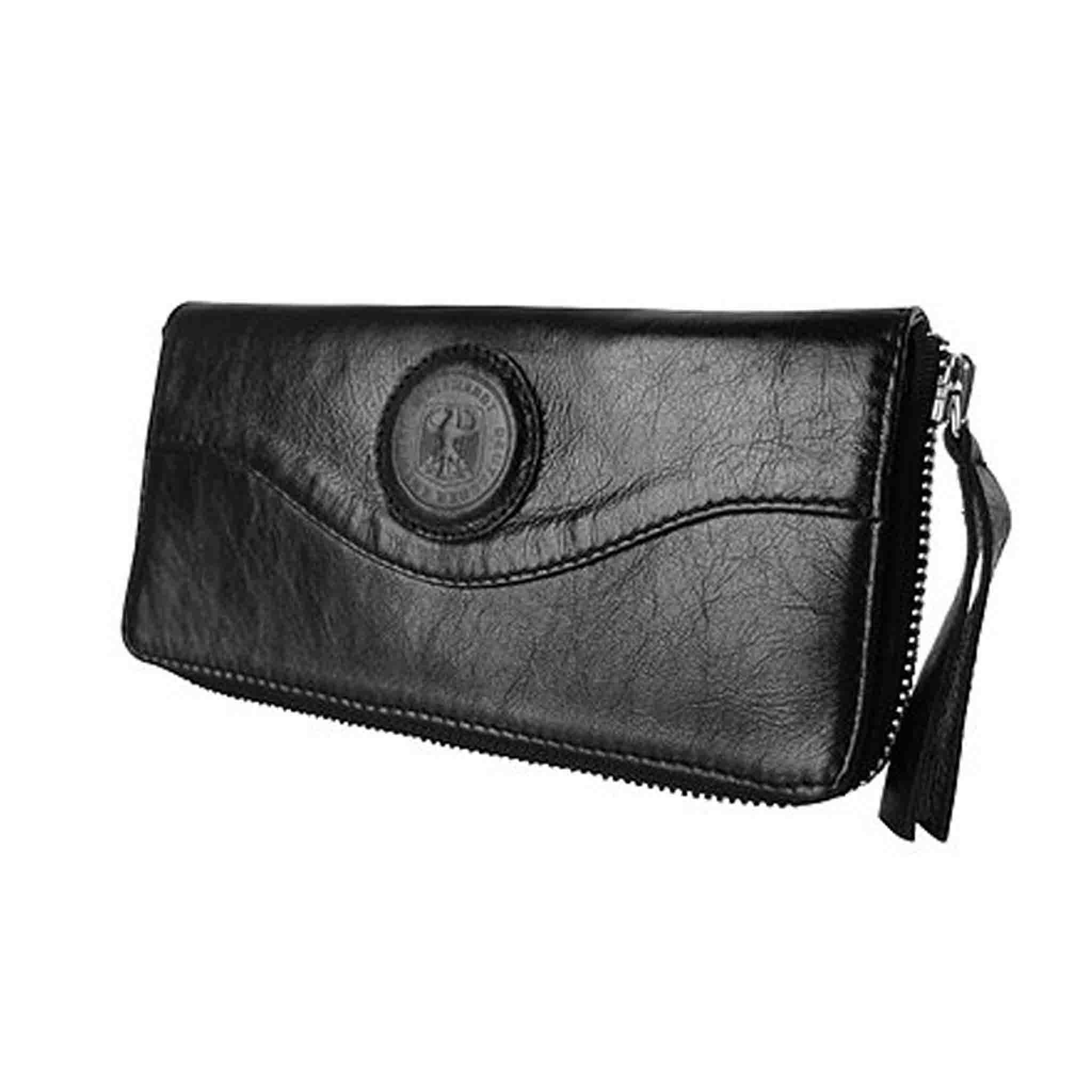 BLACK LEATHER WALLET WOMEN'S WAHRUNG