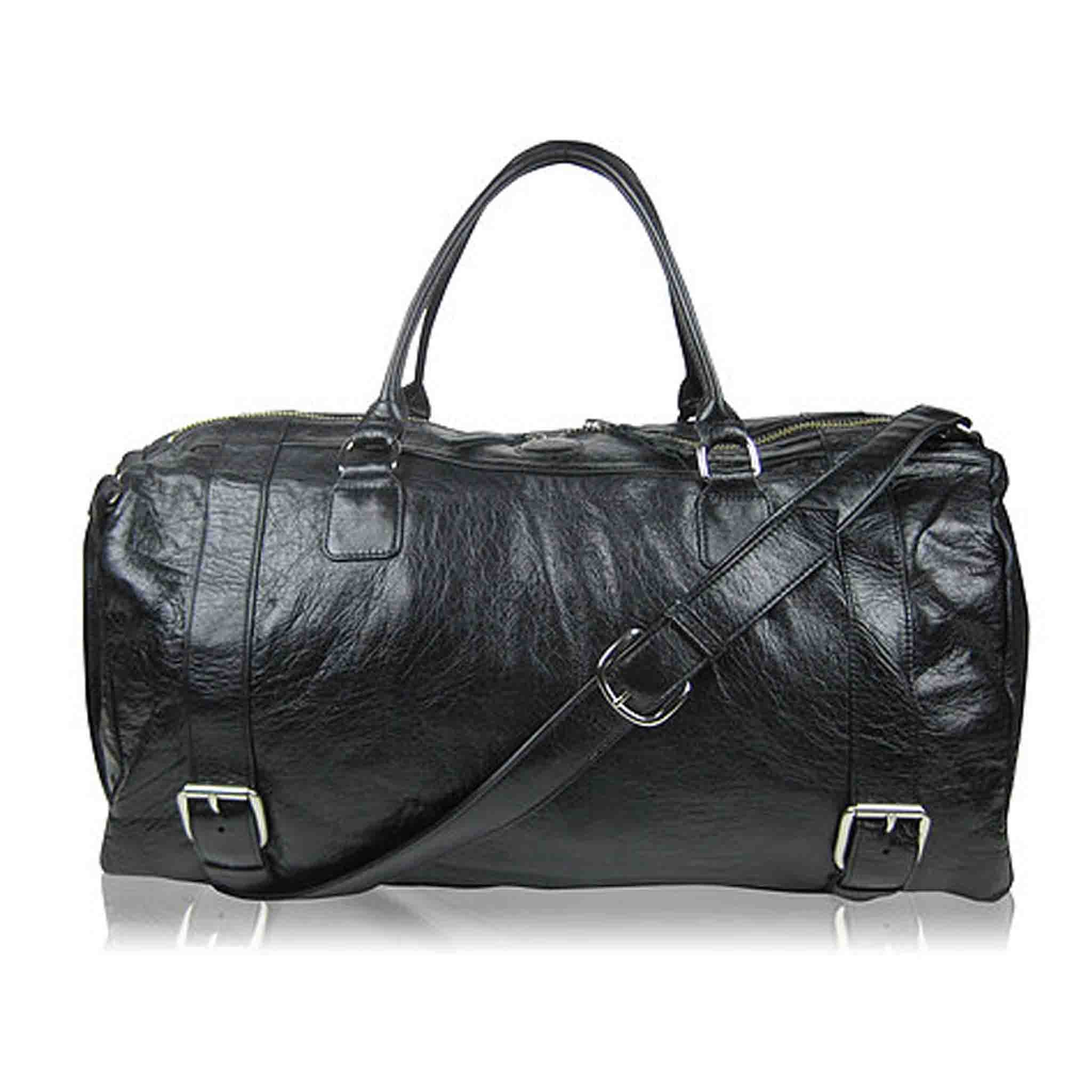 BLACK LEATHER SHOULDER MEN'S BAG STIEN WEEKENDER