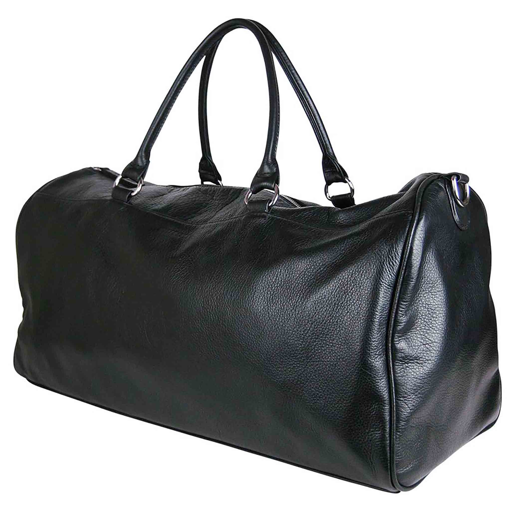 BLACK LEATHER WEEKENDER TRAVEL BAG MEN'S WOCHENDE