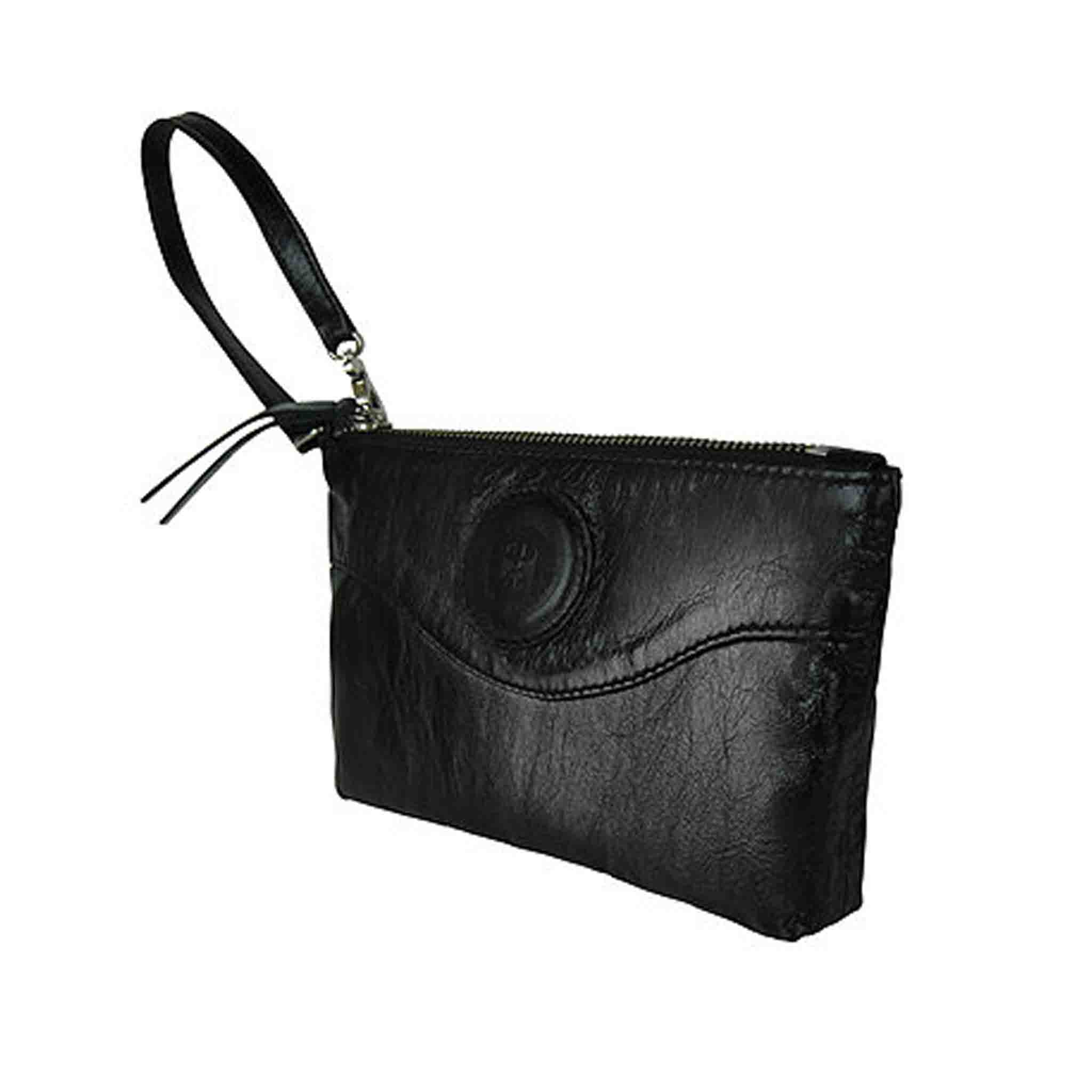 BLACK LEATHER WRISTLET WOMEN'S EINFACH