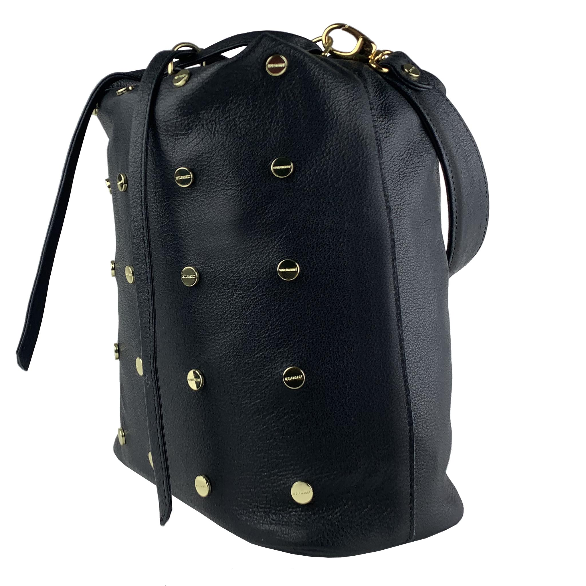 BLACK LEATHER WOMEN'S  STUDDED EIMER BUCKET PACK