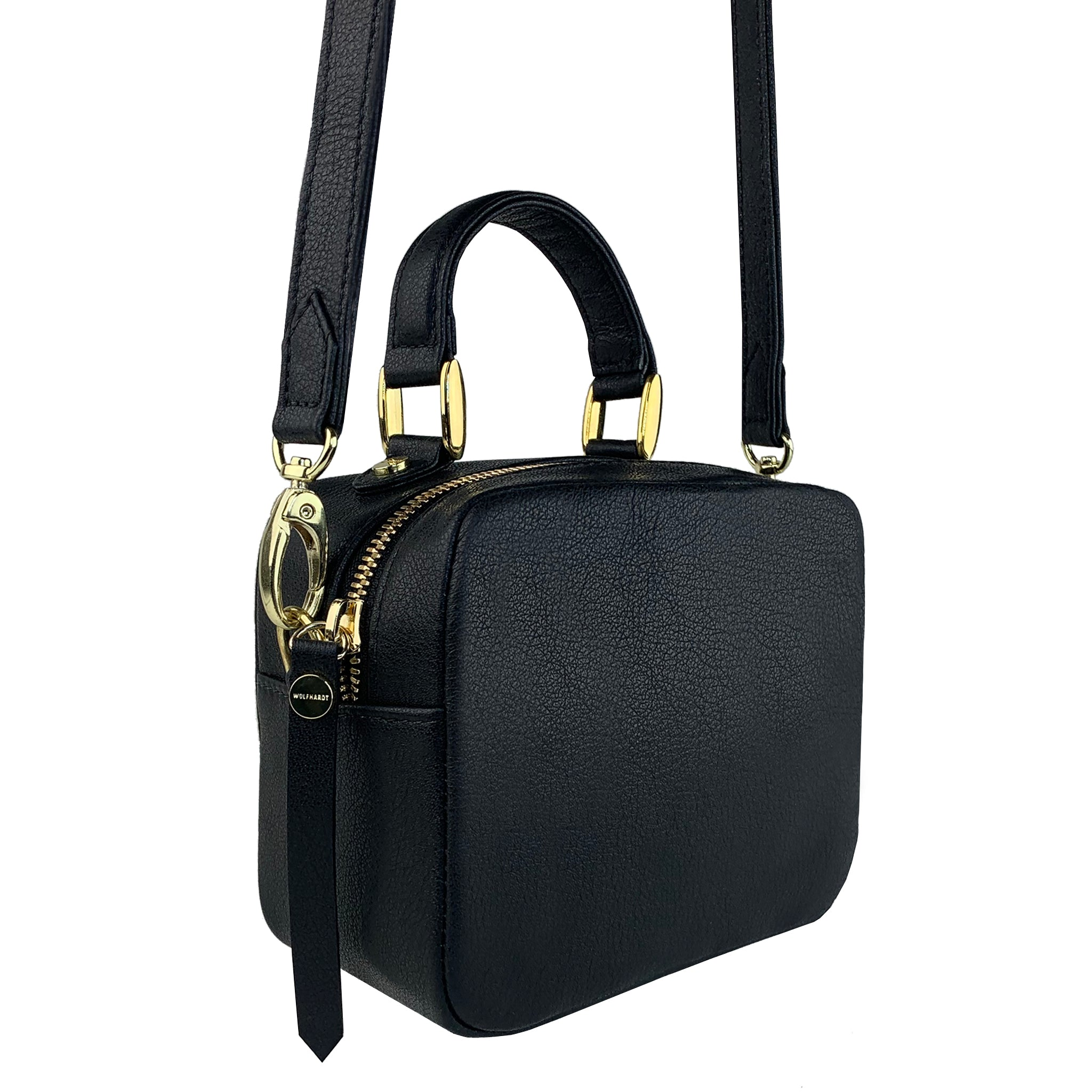 BLACK  LEATHER WOMEN'S STUDDED NIVEAU SQUARE CROSSBODY