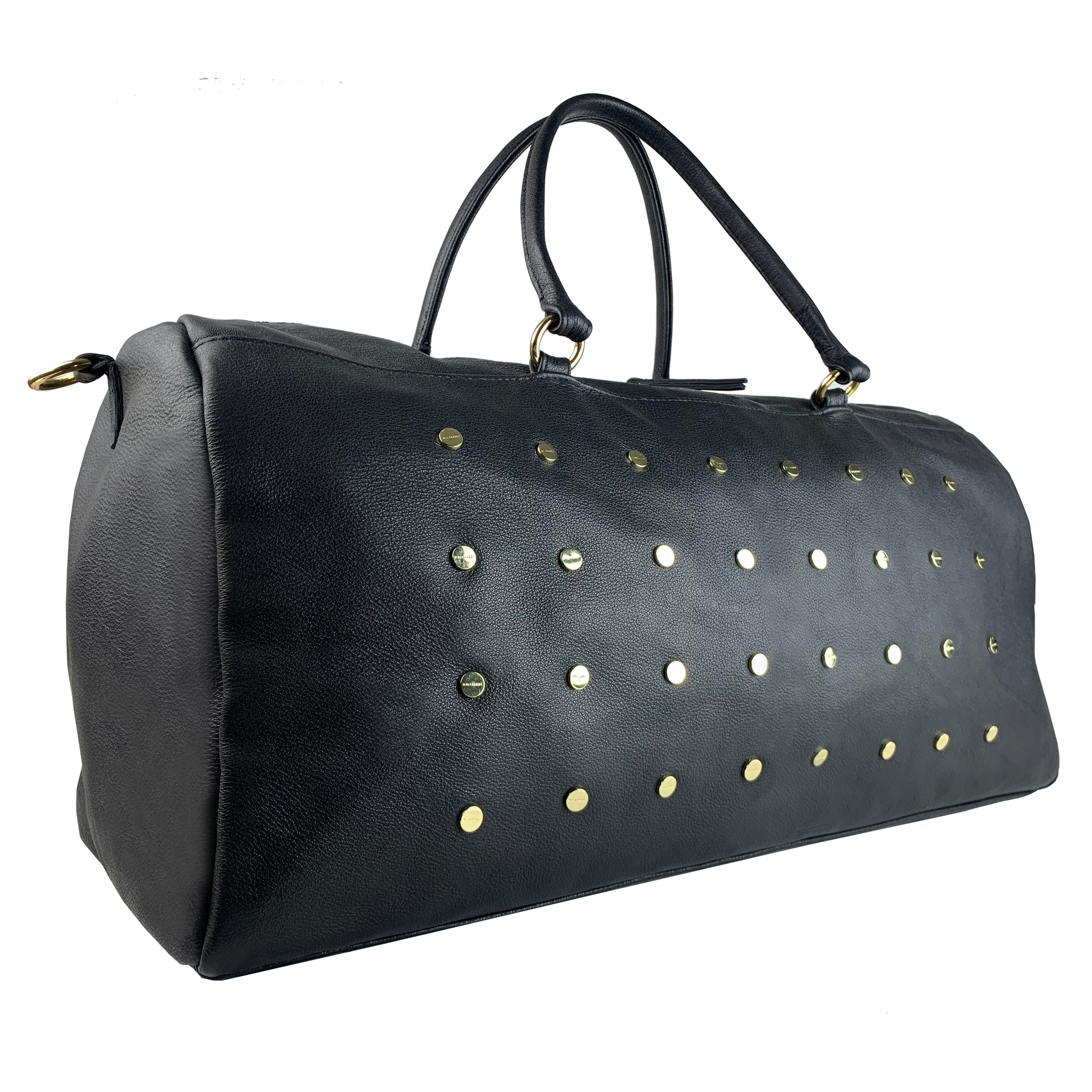 BLACK LEATHER STUDDED DUO WEEKENDER TRAVEL BAG