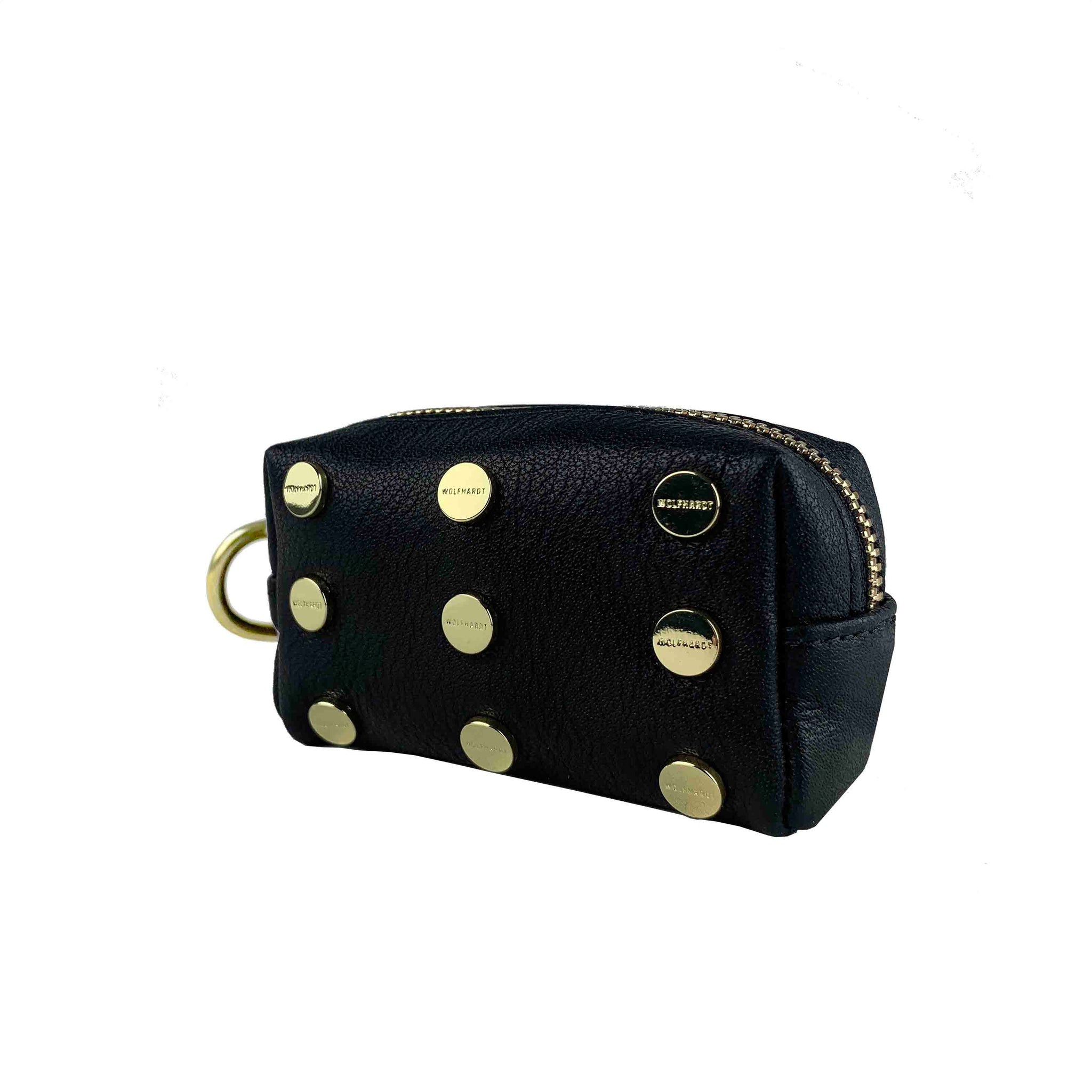 BLACK LEATHER WOMEN'S STUDDED WENIG PILL CASE