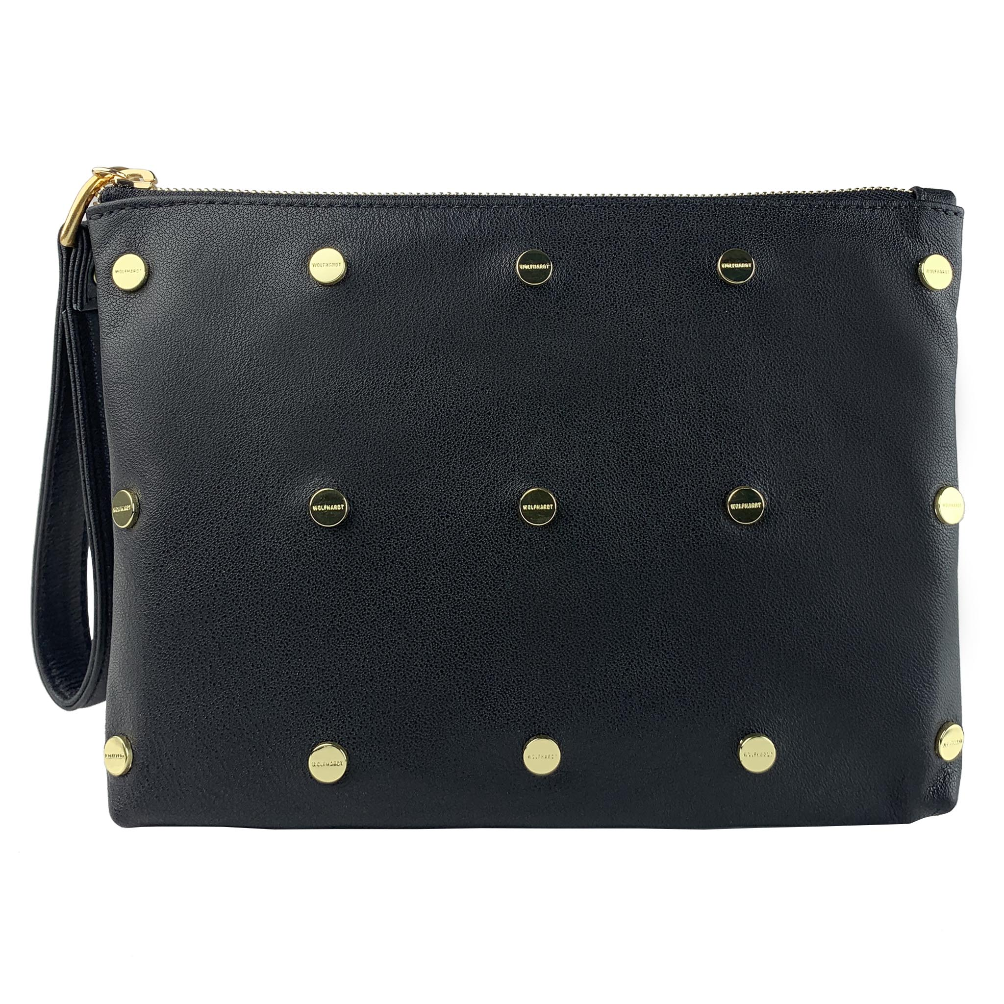 BLACK LEATHER WOMEN'S STUDDED BEUTAL FLAT ZIP POUCH