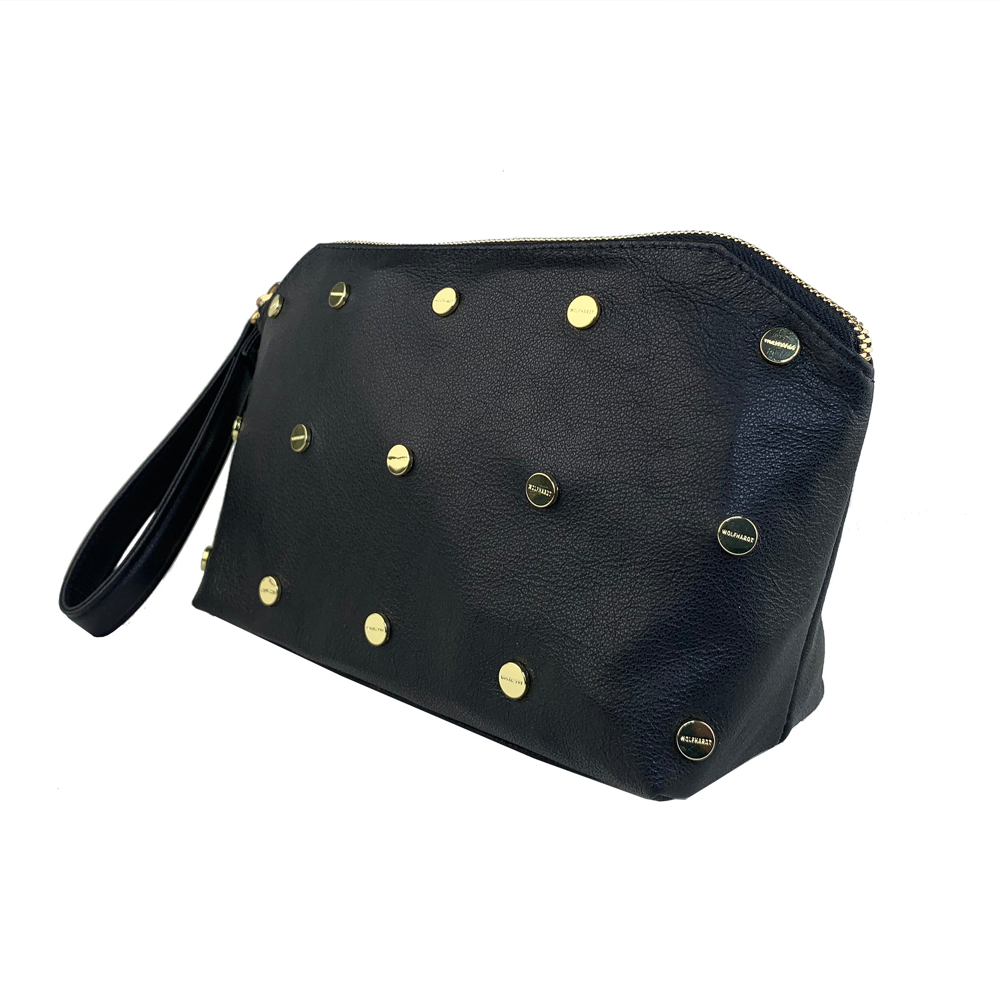 BLACK LEATHER WOMEN'S STUDDED EBEN CLUTCH