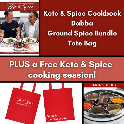 Keto & Spice Cookbook with Dabba, 50g Ground Spice Selection, Tote Bag and Keto & Spice Class
