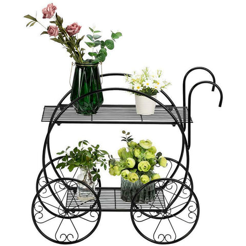 Cart Shape Metal Flower Plant Stand Display