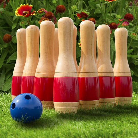 Outdoor 11inch Wooden Lawn Bowling Set