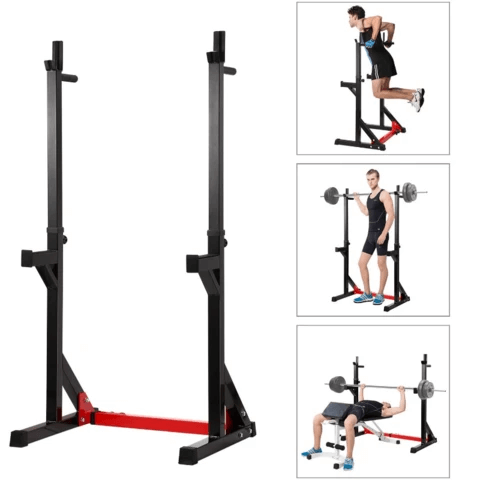 Adjustable Home Gym Bench Press And Squat Barbell Half Rack