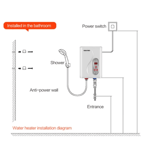 Premium Small Electric Instant Tankless Hot Water Heater 7000W