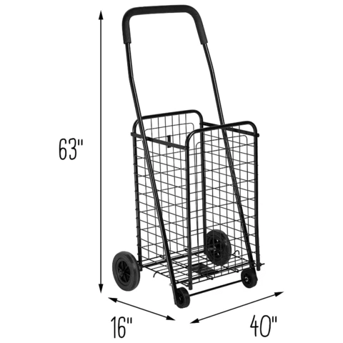 Portable Folding Personal Grocery Shopping Cart With Wheels