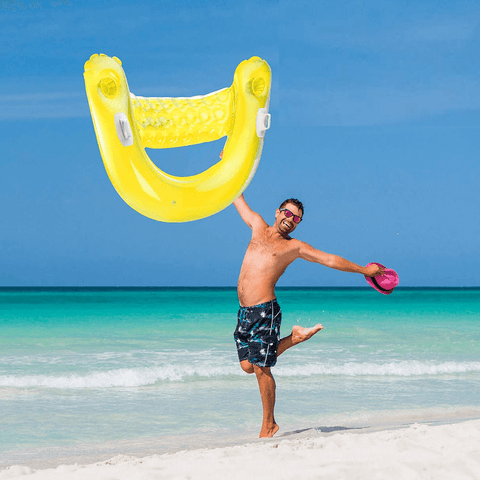 Inflatable Floating Pool Lounge Chair With Cup Holder