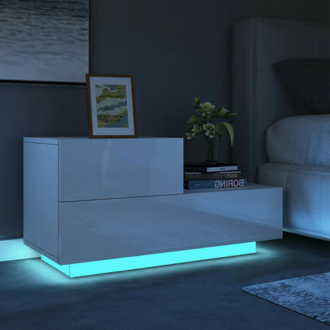 Modern Luxury LED Light Nightstand with 2 Drawers