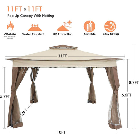 Premium Large Pop Up Screen House Room Tent 11' x 11'