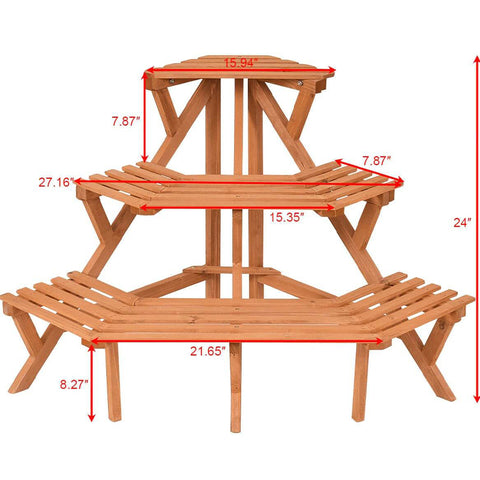 3 Tier Wooden Plant Stand Shelf