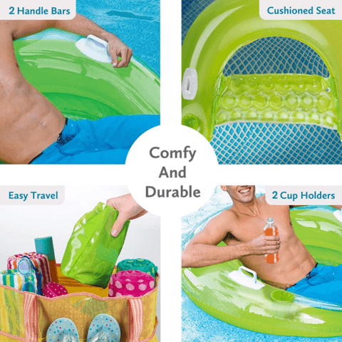 Premium Inflatable Floating Pool Lounge Chair With Cup Holder