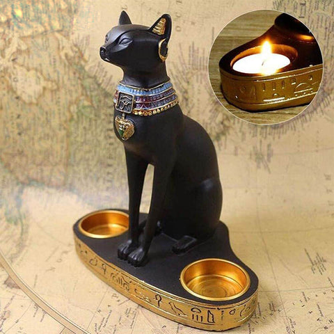 Egyptian Cat Candlestick Candle Holder