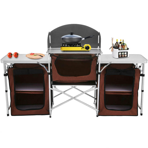 Adjustable Camping Kitchen Table Storage