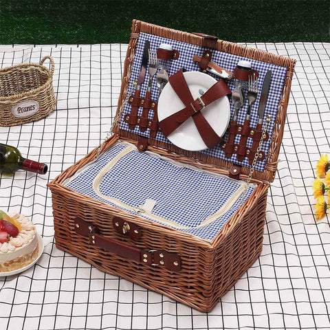 Portable Insulated Wicker Picnic Basket Set