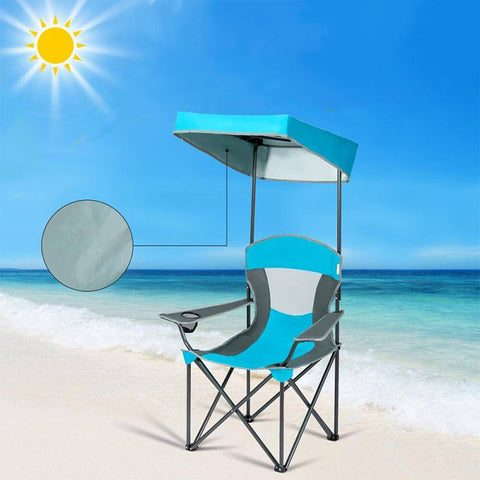 Portable Folding Camping Canopy Chair w/ Cup Holder Cooler