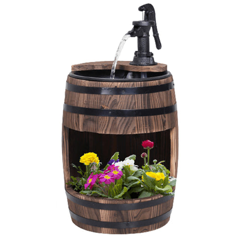 2 Tiers Wooden Water Pump Fountain