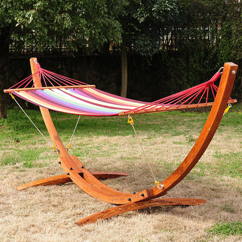 Wooden Curved Hammock Stand Patio Swing