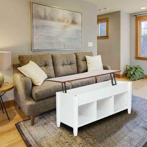Premium Lift Top Coffee Table with Storage Shelves